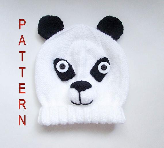Panda Bear Knitting Pattern : Knitting Pattern Panda Bear Hat Panda Hat Bear Hat Panda Bear Animal Hat Char...