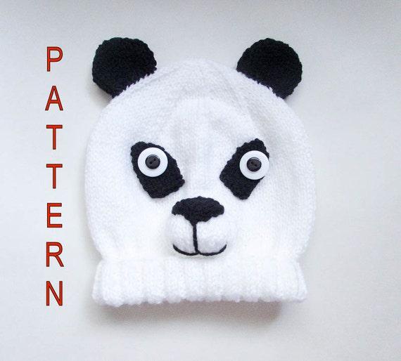 Knitting Pattern For Panda Hat : Knitting Pattern Panda Bear Hat Panda Hat Bear Hat Panda Bear Animal Hat Char...