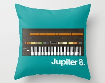 Roland Jupiter 8 Throw Pillow Cushion Synth Keyboard Synthesizer Piano Music Gift Home Gifts for Him Interior