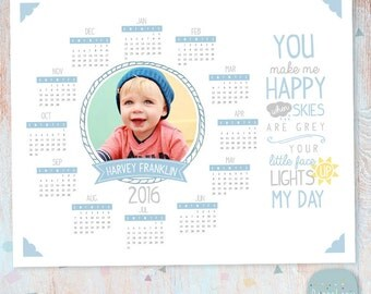 2016 Calendar Photo Template - Photoshop template - GG002 - INSTANT DOWNLOAD