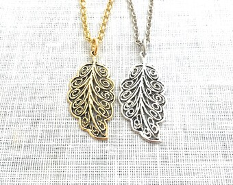 Boho Leaf Necklace, Romantic Charm Pendant, Gold Silver Simple Necklace, Boho Nature Jewelry, A0086