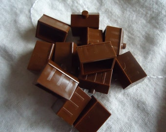 12 Brown Monopoly Hotel Pieces