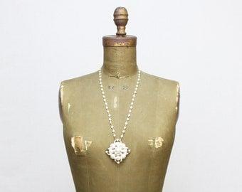 70s Statement Necklace - Vintage Long Faux Pearl 1970s Necklace