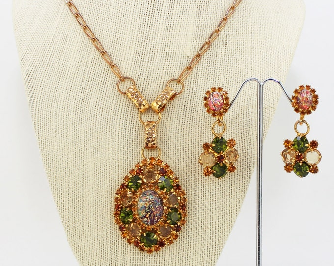 Topaz and Green Rhinestone Necklace and Earrings - Vintage 1970s Art Glass Pendant and Earrings