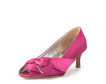 Coral Custom Made Fuchsia Kitten Heels, Pink Satin Lower Heel, Pink Floral Satin Kitten Heel
