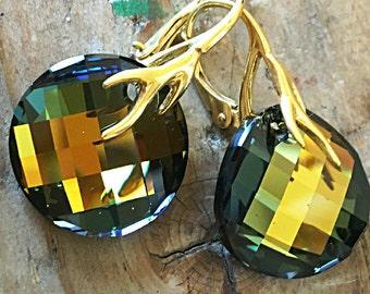 Tabac Swarovski Earrings Khaki Olive Forest Green Sage Avocado Golden Honey Forest Bronze Crystal Swarovski Round Twist Valentines Gift