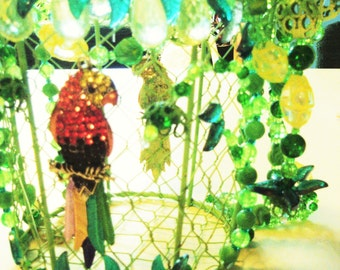 Colorful Parrot Original Beaded Hanging Plant Hanger with Sun Catcher in Lime Green