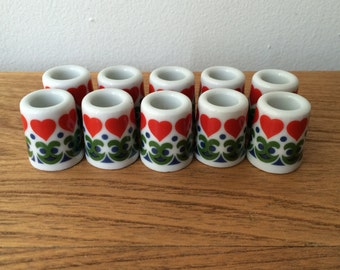 Set of 2 Tiny Vintage Ceramic Candleholders - Scandinavian style