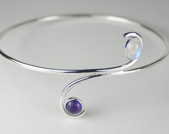 Sterling Silver Crossover Bangle with Amethyst and Rainbow Moonstone, Handmade
