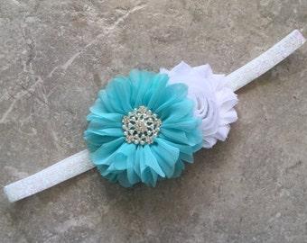 White aqua headband, newborn headband, baby headband, baby girl headband, flower headband, shabby chic flower