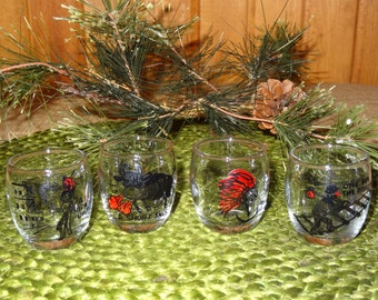 Set of 4 Shot Glasses / Shot Glasses / Toothpick Holders