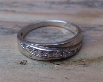 vintage sterling silver and cz ring
