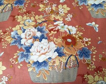 Vintage Fabric - Jay Yang Sceen Print - Woodco - Cotton Chintz Fabric - Floral Print Fabric - Country Home - Cottage Style - Shabby Chic -