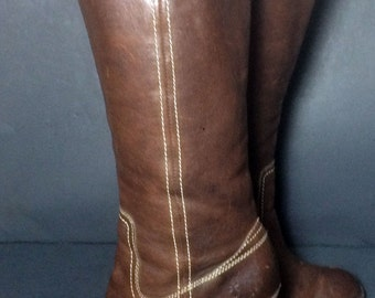 Frye 77336 Campus Caroline Brown Leather Biker Riding Motorcycle Boots Women's Size 8.5