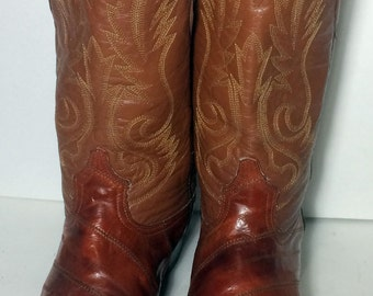 Vintage Brown Eel Skin Exotic Leather Cowboy Western Boots Men's Size 11