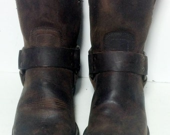 FRYE 87400 Harness Brown Leather Riding Biker Motorcycle Boots Men's Size 9.5