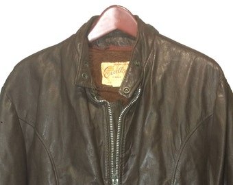 EXCELLED Brown Leather Vintage Cafe Racer Motorcycle Jacket Men's Size 46