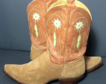LIBERTY  Brown Leather Cowgirl Western Boots Women's Size 8.5