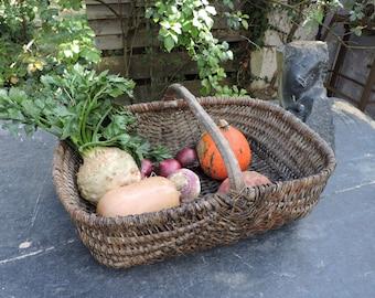 French Wicker Basket - Vintage Cane Basket - French Nordic Style - Old Fruit and Vegetables Basket -  Large Shopping Basket