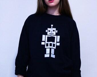 Silver Glitter Robot Sweater