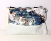 Dyed canvas clutch with leather bottom,Hand Painted Zipper Bag,hand dyed clutch, tie dye purse