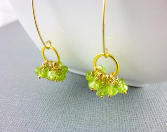 Peridot Heart Chakra Earrings, 14kt Gold Fill Wire Wrapped Clusters, August Birthstone, Lime Green Earrings, Solar Plexus Chakra Earrings