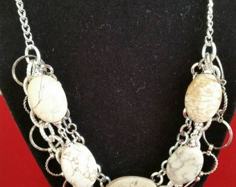 Gemstone and silver chain statement necklace