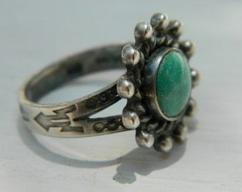 Native American Navajo Turquoise Sterling Fred Harvey Era Turquoise Ring 1960 Size 5 1/4