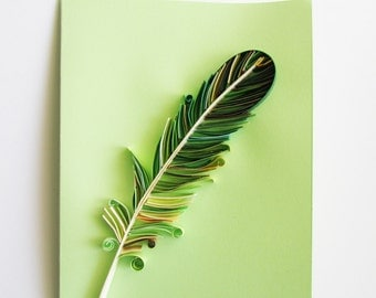 Paper quilled green feather card, Blank birthday art card, Friendship Thinking of you card, Feather stationery