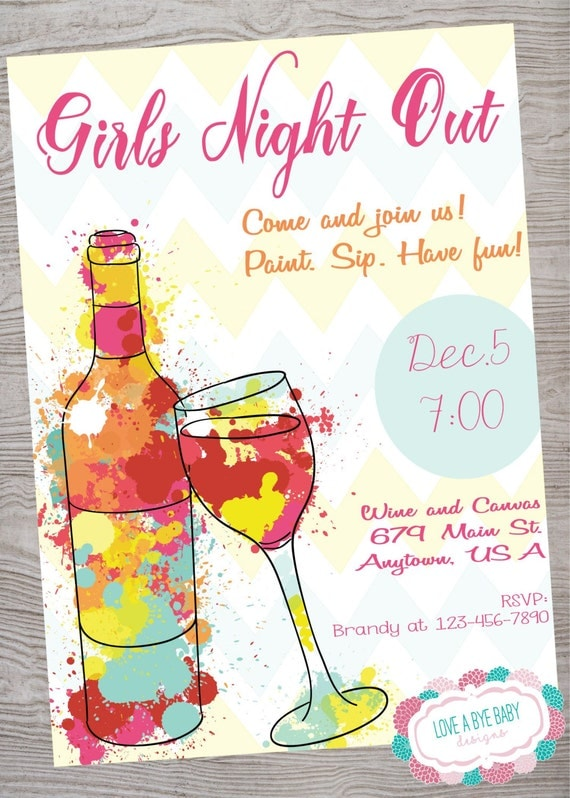 Girls night out wine canvas paint invitation printable for Wine paint party