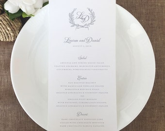 Laurel Wreath Wedding Menus, Laurel Wreath Monogram Wedding Menu Cards