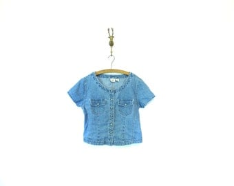 Cropped Gap Fitted Denim Shirt