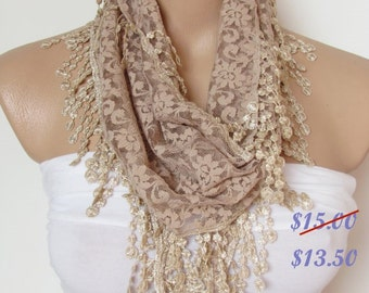 Beige Lace Scarf With Fringe Shawl Scarf Bridal Accessories Bridesmaids Long Wedding Scarf Women Fashion Accessories Christmas Gift For Her