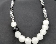 Black and White Crystal Bead and Byzantine Necklace