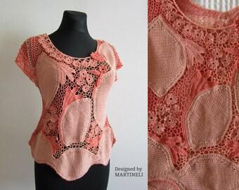 Peach Irish Crochet Top Freeform Crochet Bohemian Clothing Boho Top Crochet Blouse Lace Crochet Top Flower Summer Top Beach Top Woman