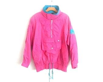 Vintage 80s Color Block Jacket Hooded Pink Windbreaker Women's Medium