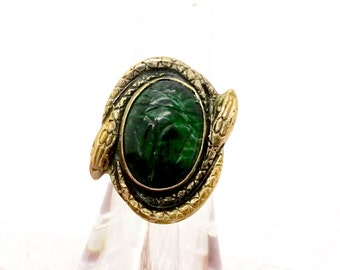 Antique SNAKE SCARAB RING Egyptian Revival Brass Malachite Scarab Ring, Size 3.5