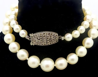 """Vintage FRENCH PEARL NECKLACE Sterling Silver Clasp Graduated Hand Knotted Pearl Strand Necklace 13 1/4"""""""