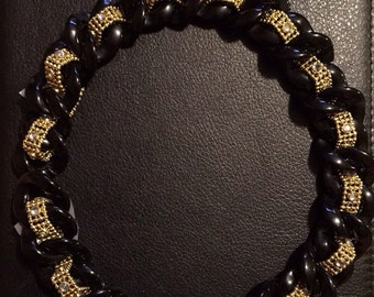 Black and Gold chain link necklace