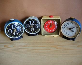 ONE!!! Vintage Soviet Mechanical Alarm Clock Jantar - Metal Body clock  -  Retro Home Desk Decor  - USSR era 1980s - colored case clock