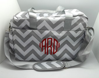 Monogrammed Diaper bag for boy or girl, gray chevron with personalization