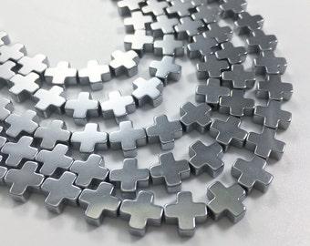 48pcs 8mm silver hematite cross beads ,cross beads ,hematite beads wholesale beads