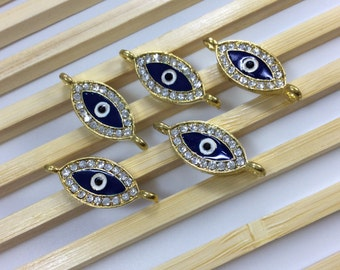 8 pcs x Hamsa evil eye protection metal connector for jewelry project ( c 209 g )