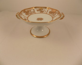 Vintage Nippon Hand painted Pedestal Octagon shaped Candy Mint Dish Gold embellished on pure white porcelain