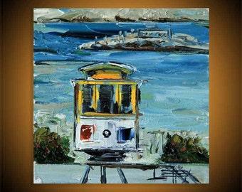 San Francisco Art, Golden Gate Bridge, California Art, California Landscape, Oil painting, Original Art, 6x6, San Francisco Painting, Art