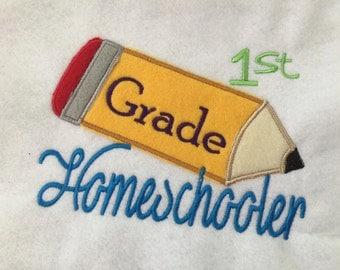 First Grade Homeschooler Applique Embroidery Design