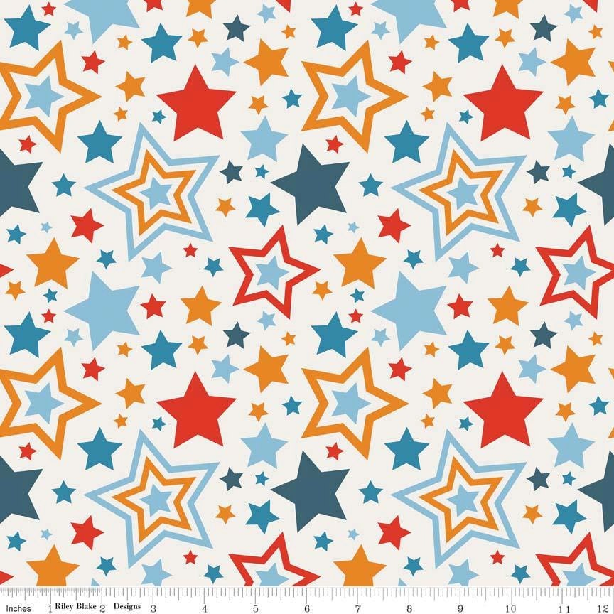 Lucky stars fabric riley blake red navy aqua and for Star fabric australia