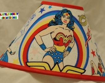 Super Heros Wonder Woman Fabric Lamp Shade - You Choose the TRIM COLOR! (10 Sizes to Choose From!)