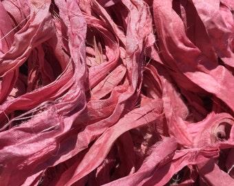 Pink - Recycled Sari Silk Ribbon - Fair Trade product