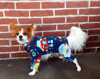 Outer Space Pet Pajamas / Robot Dog Onesie / Fleece Dog Pajamas / Pet Clothes / Dog Clothes